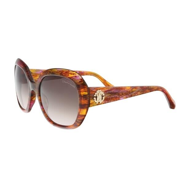 Roberto Cavalli RC989S 44F TSEEN Fuschia/Brown Round Sunglasses - 56-20-140