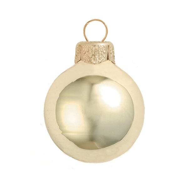 "12ct Shiny Champagne Gold Glass Ball Christmas Ornaments 2.75"" (70mm)"