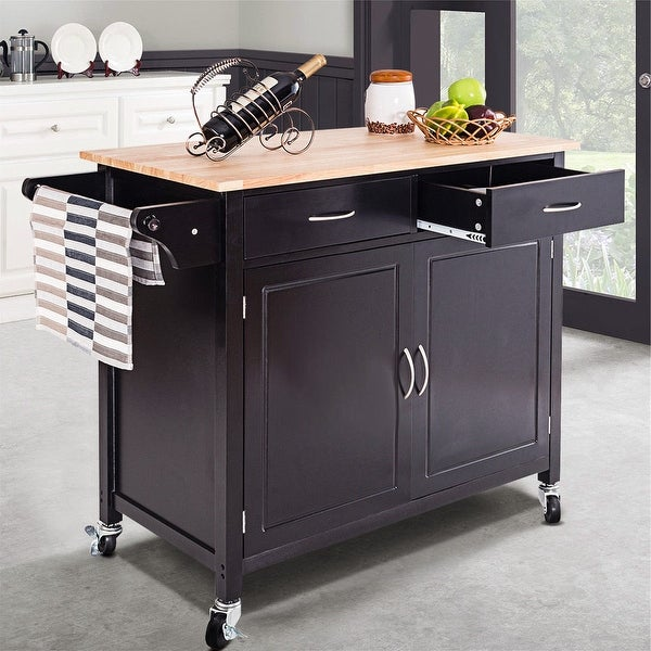 Kitchen Cart With Cabinet: Shop Costway Rolling Kitchen Cart Island Wood Top Storage