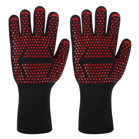 Knitted Oven Mitts 932F Heat Resistant Gloves 1 Pair Arrows Design - Red