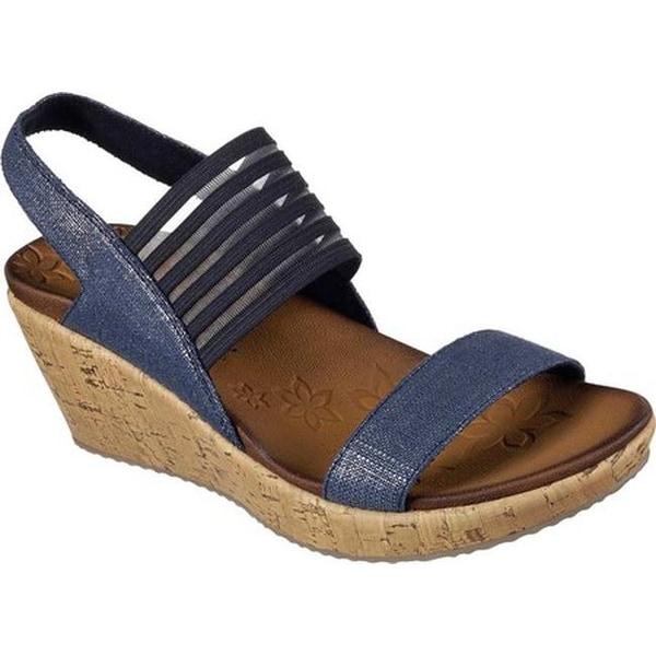 b1358fdb1ab4 Shop Skechers Women s Beverlee Smitten Kitten Wedge Sandal Navy - On ...