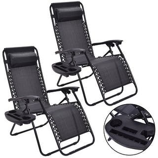 Costway 2pc Zero Gravity Chairs Lounge Patio Folding Recliner Outdoor Black W Cup Holder