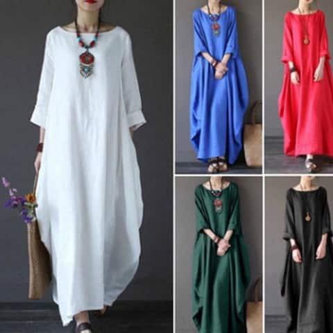 2451f5197e Summer Women s Casual Round Neck Long-sleeved Dress Long Skirt National Wind