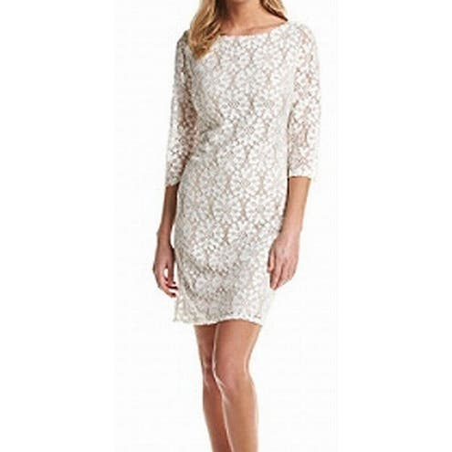 Jessica Howard New White Ivory Nude Women 10 Illusion Sheath Lace Dress