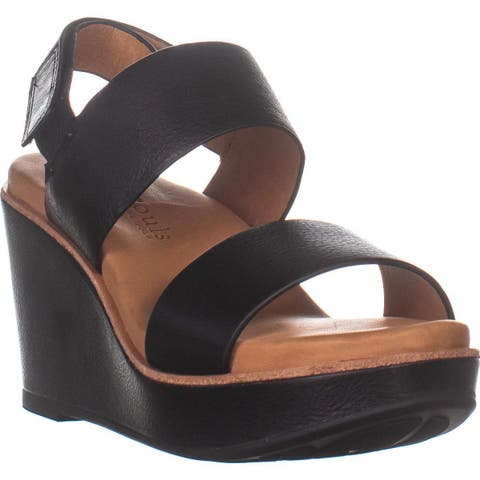 Gentle Souls Hope Slingback Wedge Sandals, Black - 7 US / 37.5 EU