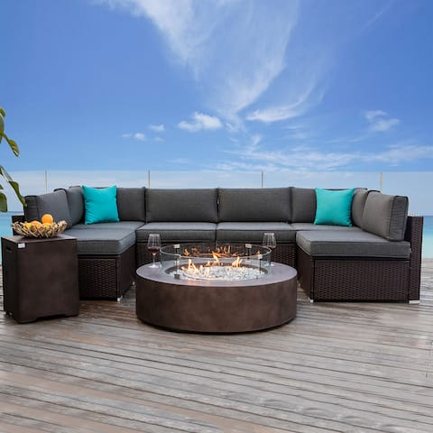 COSIEST 9 Piece Patio Sofa Set with Fire Table Tank Outside