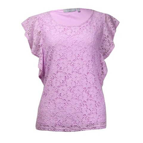 NY Collection Women's Fluttered Lace Overlay Top - Lavender Pink - XS