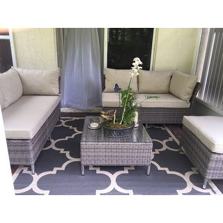 Corvus Bellanger 4-piece Grey Wicker Patio Furniture Set