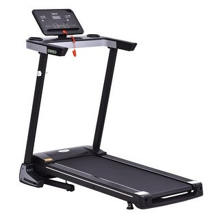 Soozier Electric Folding Treadmill Machine 16'' Wide Tread Belt w/LCD Display 12 Pre-Set Programs 7.5 MPH Max Speed w/Cup Holder