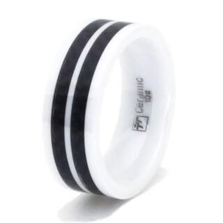 White Ceramic Ring w/ Dual Black Carbon Fiber Inlay