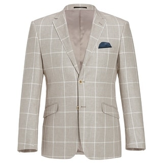Link to Men's 2 Buttons Classic Fit Blazer Cotton Linen Plaid Sport Coat Similar Items in Sportcoats & Blazers