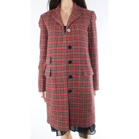 Lauren by Ralph Lauren Women's Coat Jacket Red Small S Trench Plaid