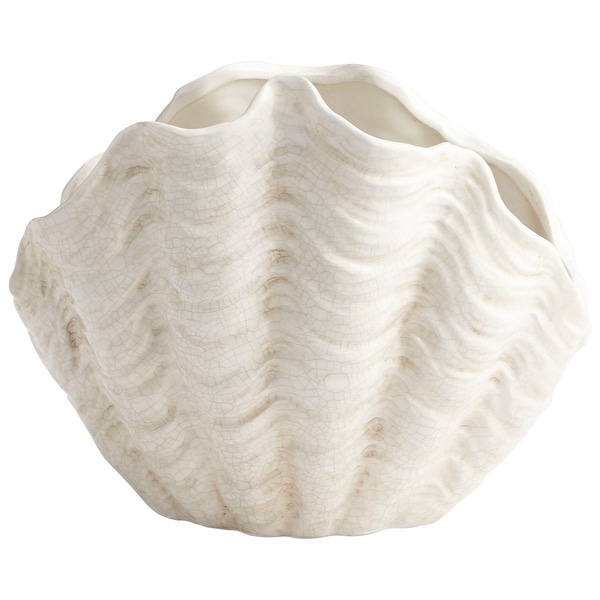 "Cyan Design 8704 Michelle My Shell 11"" Tall Ceramic Planter - White Crackle - N/A"