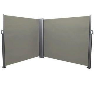 Sunnydaze Corner Patio Retractable Privacy Wall Side Awning - 10 x 6 Feet Grey