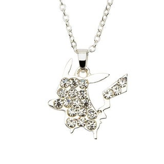 Pokemon Pikachu w/ Gems Silver Pendant Necklace