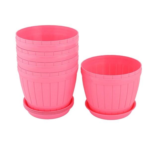 Garden Plastic Desktop Decoration Plant Flower Cactus Pot Pink 17.5cm Dia 5 Pcs