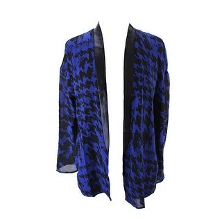 Made For Impusle Sodalte Blue Houndstooth Fauxleather Trim Sheer Cardiga - m