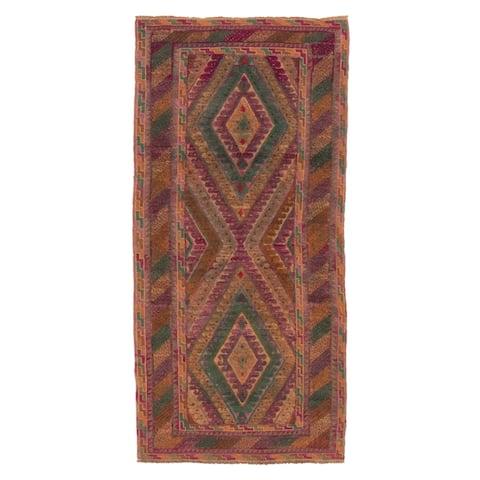 ECARPETGALLERY Hand-knotted Tajik Caucasian Teal Wool Rug - 2'10 x 6'2