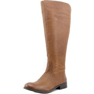 Jessica Simpson Randee Wide Calf Women Round Toe Leather Brown Knee High Boot