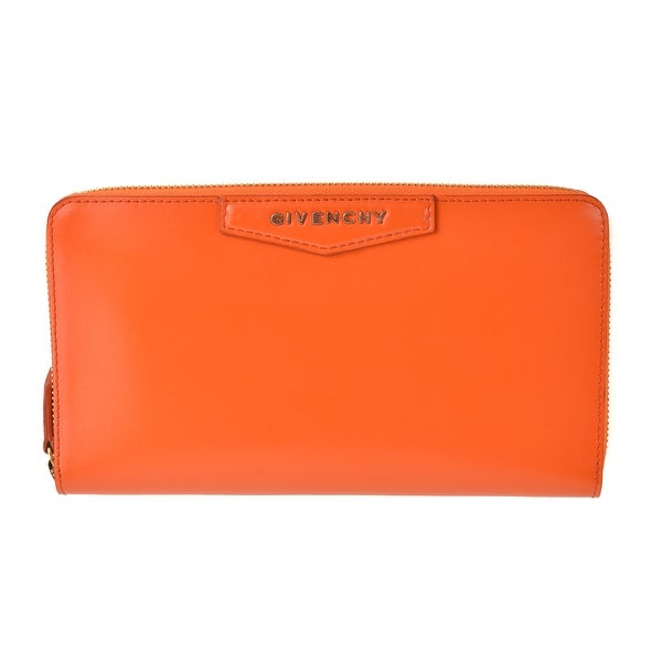 Givenchy Smooth Orange Leather Continental Zip Around Wallet