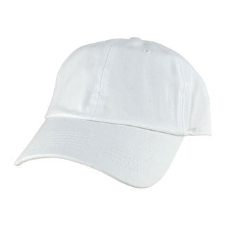 Plain Low Unstructured C1163 Cotton Curve Bill Adjustable Strapback Dad Cap - White