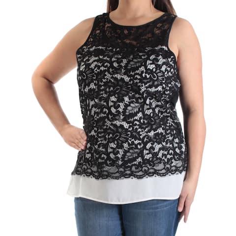 KAREN KANE Womens Black Lace Sleeveless Jewel Neck Wear To Work Top Size: L