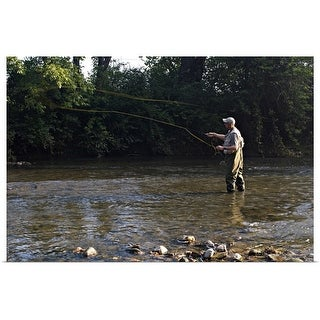 """""""Angler fly fishing in early morning on stream"""" Poster Print"""