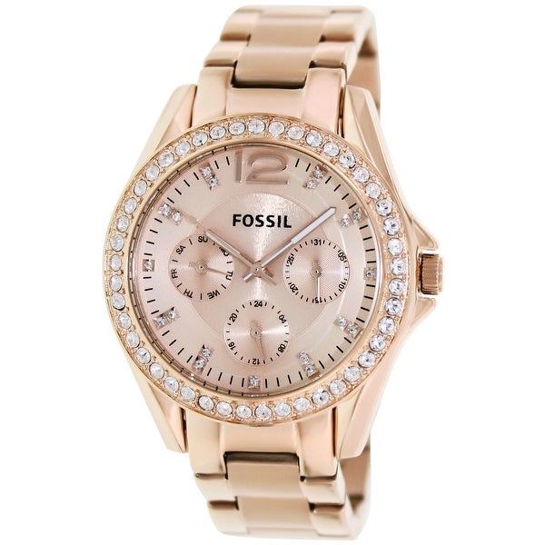 e0853d5d370 Shop Fossil Women s Riley Rose-Gold Stainless-Steel Fashion Watch - Free  Shipping Today - Overstock - 18655621