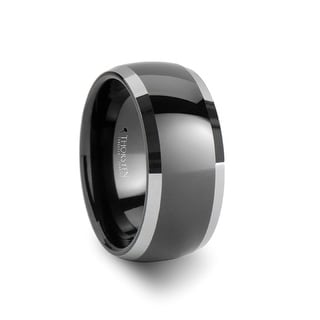 THORSTEN - MEMPHIS Domed Black Tungsten Wedding Band with Polished Edges - 10mm