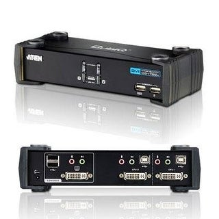 Aten 2-Port Usb 2.0 Dvi Kvmp Switch With Cables Cs1762a (Silver)