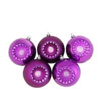 "5ct Shiny and Matte Pink Magenta Retro Reflector Shatterproof Christmas Ball Ornaments 3.25"" (80mm)"
