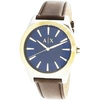 Armani Exchange Men's Nico  Silver Leather Japanese Quartz Fashion Watch