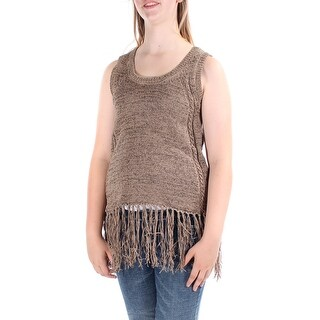 ONE A Womens New 1317 Brown Fringed Scoop Neck Sleeveless Casual Sweater M B+B