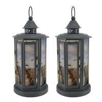 Shabby Beach Pier 2 Piece Grey Metal LED Candle Lantern Set