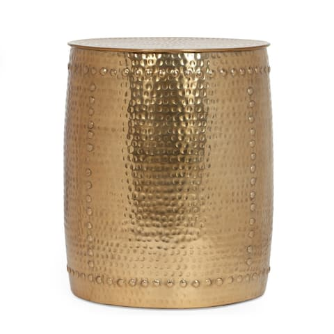 """Madsen Modern Handcrafted Aluminum Studded Side Table by Christopher Knight Home - 16.50"""" L x 16.50"""" W x 19.50"""" H"""