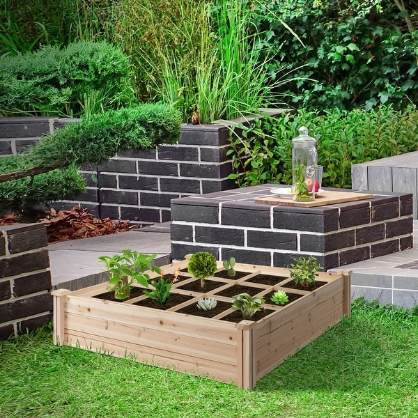 Outsunny 3.9ft x 3.9ft Backyard Raised Garden Bed Box with Segmented Growing Grid, Wood Material for Plants & Herbs. Opens flyout.