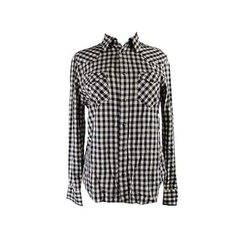 Polo Ralph Lauren Black Cream Plaid Western Shirt 10 $125 DBFL