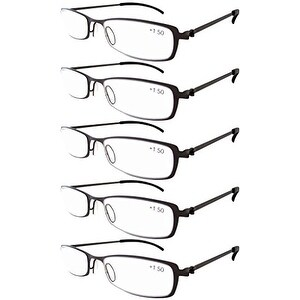 Eyekepper 5-Pairs Stainless Steel Frame Reading Glasses Gunmetal +1.75
