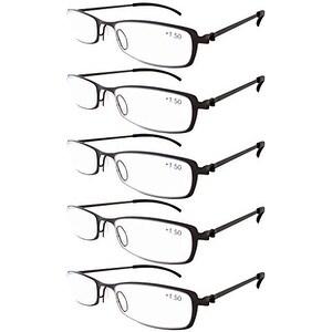 Eyekepper 5-Pairs Stainless Steel Frame Reading Glasses Gunmetal +2.5