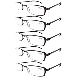 Eyekepper 5-Pairs Stainless Steel Frame Reading Glasses Gunmetal +3.5