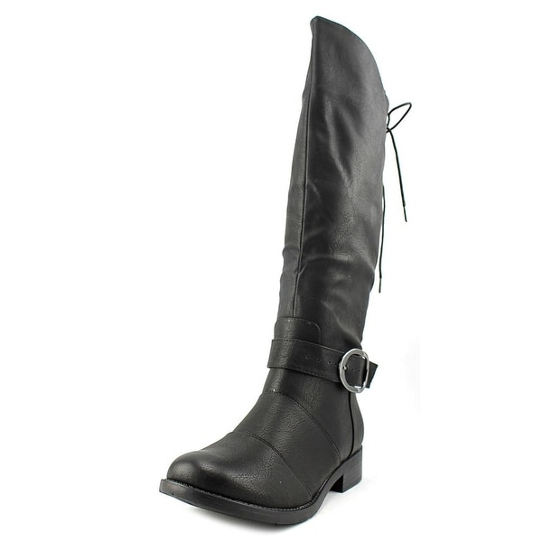 2 Lips Too Too Jangler Women Round Toe Synthetic Black Mid Calf Boot