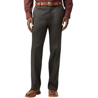 Dockers Signature Khaki Herringbone Flat Front Pants Charcoal 38 x 30