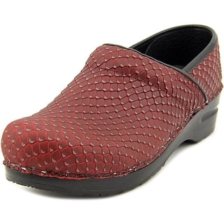 Sanita Prof. Faye Women Round Toe Leather Burgundy Clogs