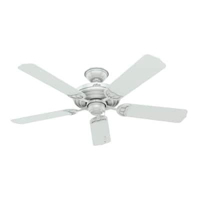 """Hunter 52"""" Sea Air White Outdoor Ceiling Fan with Pull Chain"""