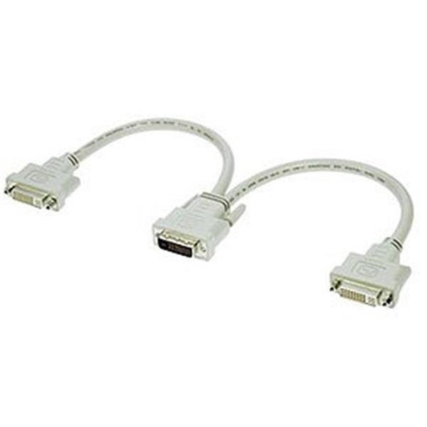 1ft DVI-D M To DVI-D F x 2 Split Cable Beige