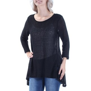 Womens Black Long Sleeve Jewel Neck Hi-Lo Top Size S