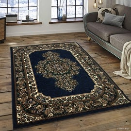 """Allstar Navy Woven High Quality High Density Double Shot Drop-Stitch Carving (5' 2"""" x 7' 2"""")"""