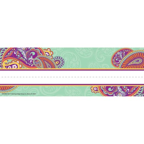 "Positively Paisley Self-Adhesive Name Plates, 9 5/8"" X 3 1/4"", 36 Per Pack, 3 Packs - One Size"