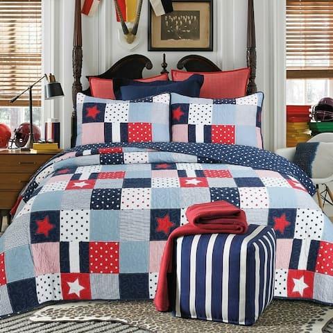 Cozy Line Navy Red Star Boy Quilt Set