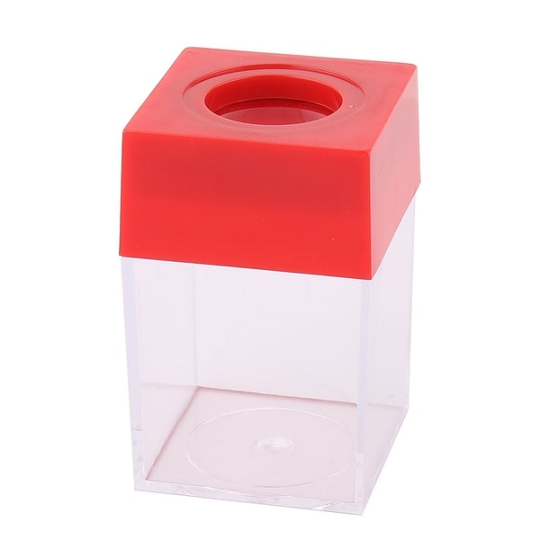 Office Plastic Square Shaped Paper Clip Dispenser Holder Box Case Container Red